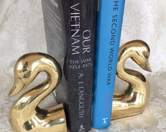 Brass Swan Bookends Solid Brass Bookends Vintage Home Decor
