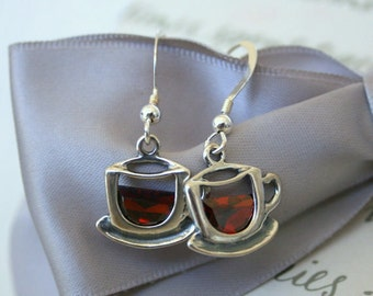 Tea or Coffee cup earrings with Dark Red CZ accents Sterling Silver