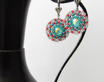 Swarovski beaded crystal earrings seed bead Christmas earrings Swarovski Rivoli Crystal AB earrings beadwork handmade earrings gift for her