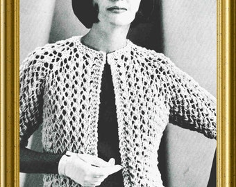 Lace Sweater Knitting Pattern 1960 Vintage Easy to Knit PDF
