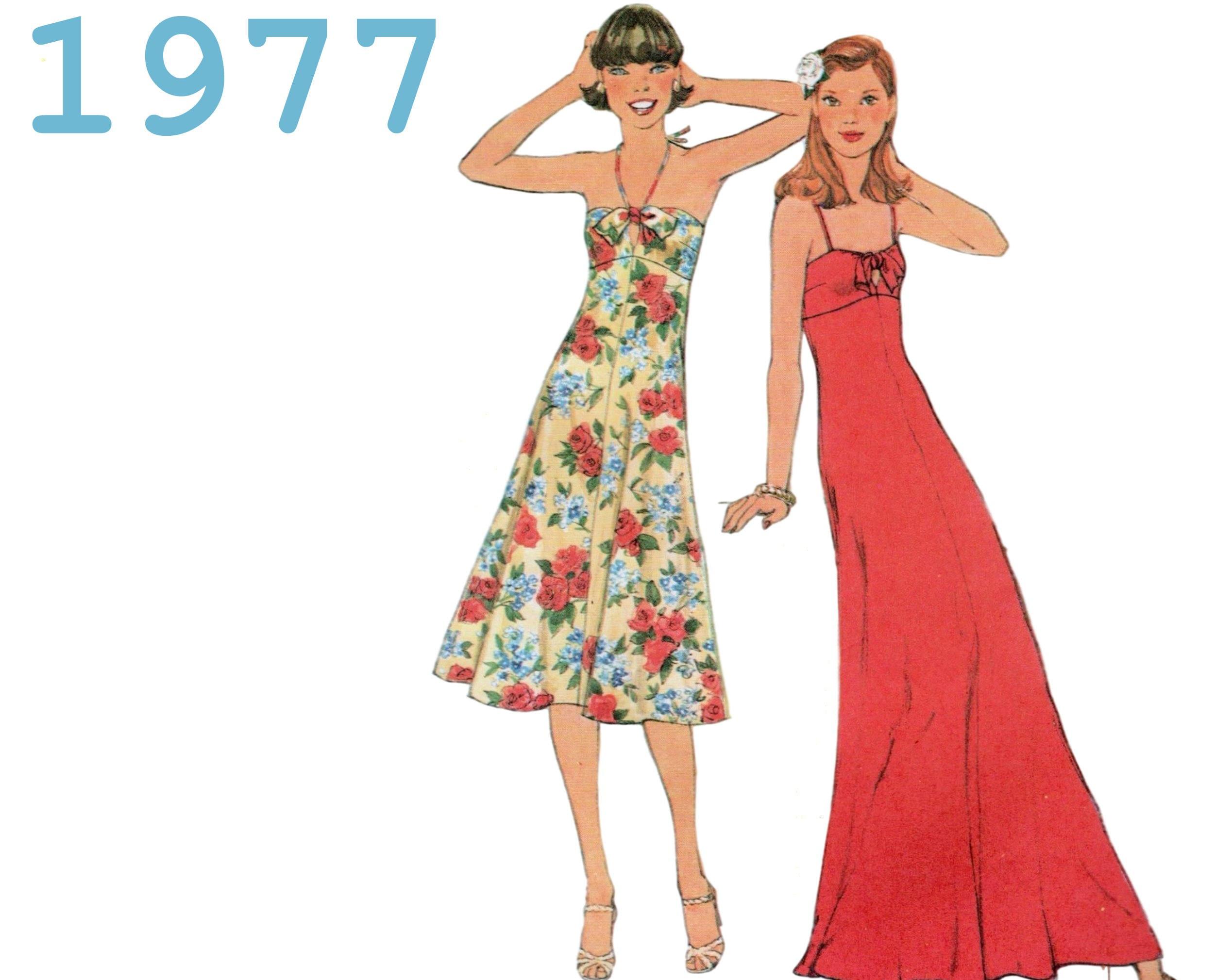 Sexy Sundress Pattern Halter Dress 70s Cocktail Dress
