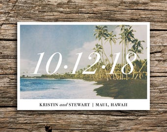 Maui Save the Date Postcard // Hawaii Wedding Save the Date Black Sand Tropical Destination Wedding Casual Beach Post Cards Palms