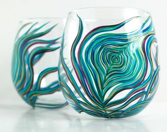 Peacock Feather Stemless Wine Glass - Single Hand Painted Wine Glass