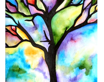 """MADE-TO-ORDER Watercolor Painting, Tree Silhouette, Colorful Rainbow Hues, 8""""x10"""""""