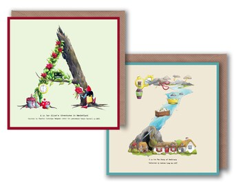 A - Z Alphabet Letter Greeting Cards inspired by Fairytales Name Custom Initial Personalised Typography