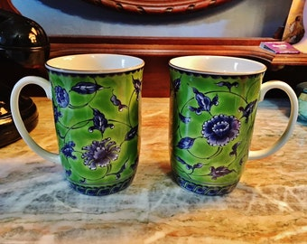 Vintage Pair of Otagiri Floral Designed Green and Cobalt Blue Tea or Coffee Cups - Made in Japan