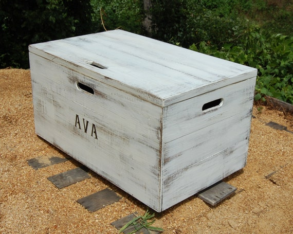Distressed White Wooden Crate Rolling Toy Chest Large Storage