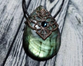 Fiery Labradorite Teardrop Necklace with Swarovski Crystal