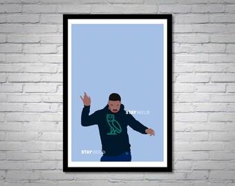 Drake Hotline Bling Music Video Blue Wall Art Print