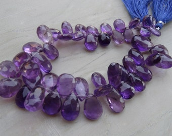 25 pcs 10 mm to 15 mm Natural African Amethyst Briolette Big Pears  AA+ Quality-
