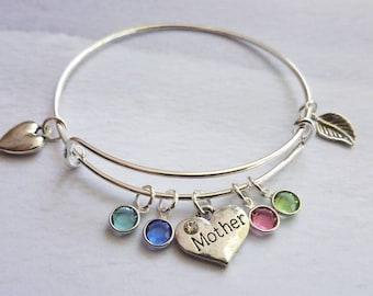 Mother Bracelet, personalized Family Tree Bracelet, birthstone bracelet for mom, personalized gift, birthday gift for mom from daughter