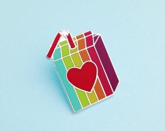Retro Rainbow Juice Box Enamel Pin Badge, Lapel Pin, Tie Pin
