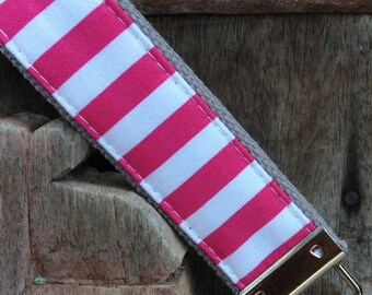 READY TO SHIP-Beautiful Key Fob/Keychain/Wristlet-White and pink stripe on gray