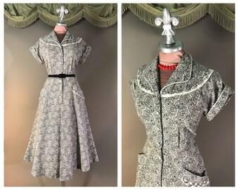 50s dress 1950s vintage BLACK WHITE PAISLEY print detailed full skirt day dress