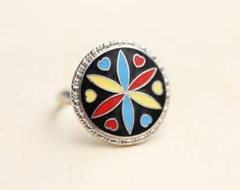 Enamel Hex Ring, Hex Ring, Round Ring, Enamel Ring, Symbol Ring, Silver Enamel Ring, Silver Ring, Round Ring, Adjustable Ring, Vintage Ring