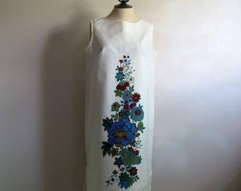 Floral 70s Sleeveless Summer Shift Vintage 1970s Dorsay White Day Dress Medium