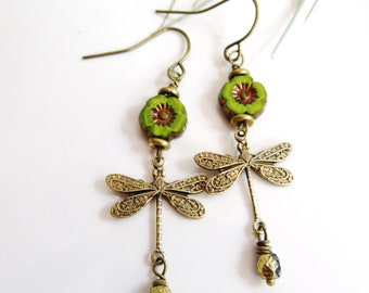 Brass Dragonfly Earrings, Bohemian Green Czech Flower Earrings, Botanical Jewelry, Redpeonycreations
