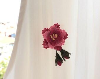 Handmade oya, Lovely pink color flower  brooch