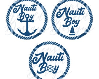 Nauti Boy Monogram Addition for Dog Bandana - Matte, Glitter & HOLO Options