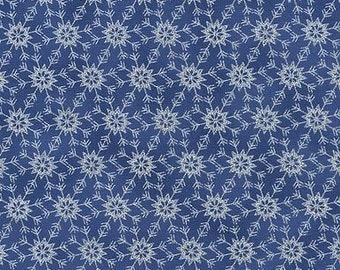"""Winter Christmas Fabric: Glittery Snowflakes on Blue, Crystalline snowflakes by Timeless Treasure 100% cotton fabric by yard 36""""x44"""" TTT272"""