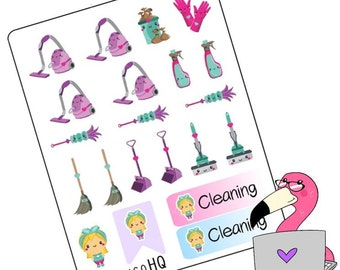 Kawaii: Cleaning - Planner Stickers
