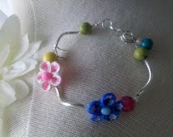 Polymer Clay and silver plated noodle bracelet      Free shipping!