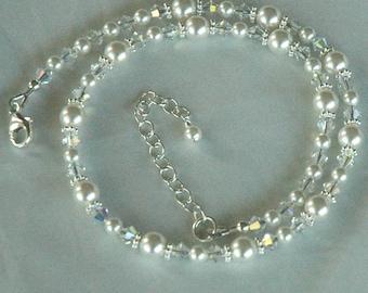 Princess Child Flower Girls Swarovski Crystal Pearl Necklace, Flower Girl Necklace, Baptism Necklace