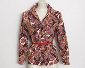 1970s Corduroy Shirt / Floral Print Cotton Button-down Jacket / Women's Vintage 70s Patterned Top