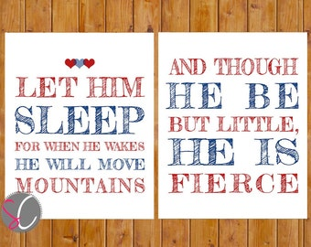 Let Him Sleep Move Mountains Be But Little He is Fierce Boys Nursery Wall Art Navy Red 8x10 Digital JPG Files Instant Download (75)