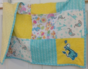 Embroidered blue giraffe jungle yellow and blue baby blanket