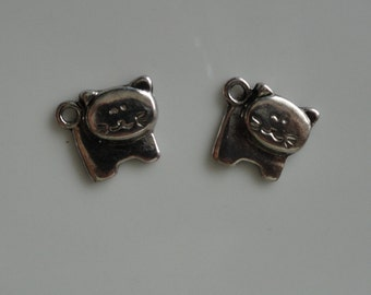 CLEARANCE 6 Fat Cat Earring Charm Zipper Pull Knitting Stitch Marker Antique Silver Color Tibetan Style 1/2 Inch