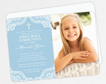 Photo First Communion Invitations, Blue First Communion Invitations, Lace First Communion invitations, Girl First Communion Invitations, PDF