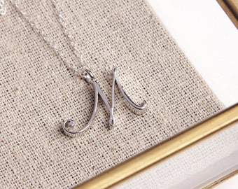 Silver M Pendant / Silver letter M Necklace / Dainty silver chain necklace / initial necklace / sterling silver chain / personalized jewelry