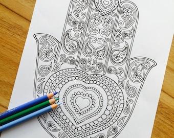 Hamsa Lotus Hand Drawn Adult Colouring Print
