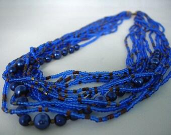 Blue Seed multicouches perle collier - Bijoux fantaisie - Summer collier - multibrins - perles - idée cadeau
