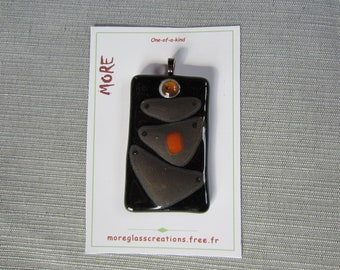 Black, orange and amber fused glass pendant transparent with bronze highlights