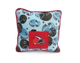 Sport Tooth Fairy Pillow, Football Helmet Pillow, Boys  Personalized Pocket Pillow, Boys Blue Sport Pillow