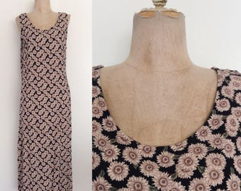1990's Muted Sunflower Print Midi Dress Size Small by Maeberry Vintage