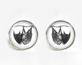 Bat with Baby small post stud earrings Stainless steel hypoallergenic 12mm Gifts for her