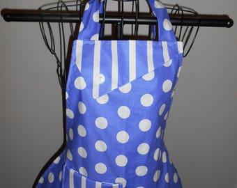 Purple Polka Dots and Stripes - Women's Apron - Ruffle - Pocket