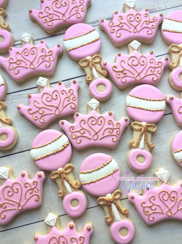 2 dozen Princess baby shower sugar cookies Pink & gold baby