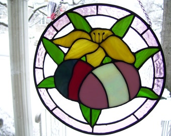 Stained Glass Easter Lilly & Eggs Suncatcher
