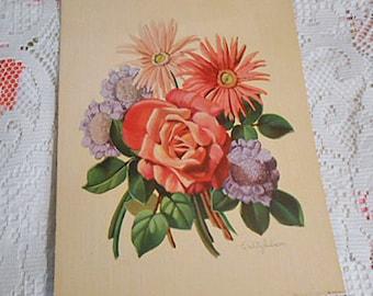 Gerbera DAISY Cabbage ROSE & SCABIOSA Litho Print, Pastel Pink Orange Blue Pin Cushion Bouquet, 1950s Signed Botanical Art to Frame 9 x 12
