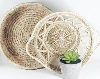 Bohemian Woven Grass Baskets - Set of Two - Plant Baskets - Global Style Storage
