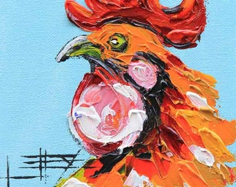 Commission Painting, Rooster Art, Chicken Decor, Rooster Painting, Hen Art, Animal Painting, Roosters, Original Painting, Lisa Elley