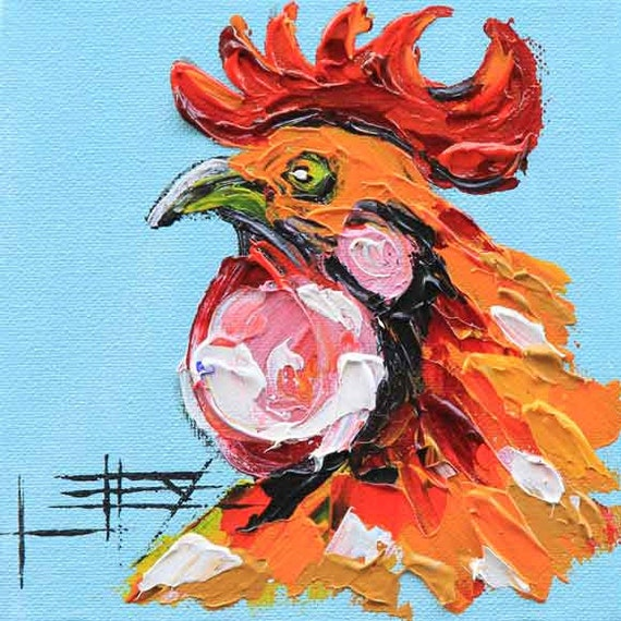 Kommission Malerei Hahn-Kunst Huhn-Dekor Hahn Malerei