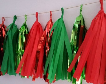 20 Tassel Christmas Tissue Paper Garland, Christmas Decorations, Red Green, Holiday Decorations, Tassel Garland, Tissue Tassels, Birthday