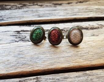 The Khaleesi Dragon Egg Ring - Set of 3 Cameo Rings - Daenerys Targaryen Stormborn Mother of Dragons-Game of Thrones Jewelry- Targaryen ring