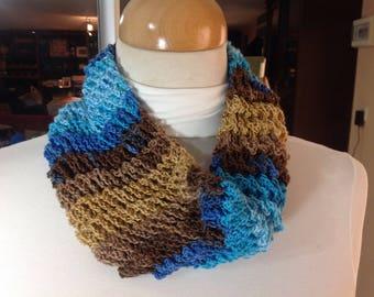 Handmade Cowl blue beige brown