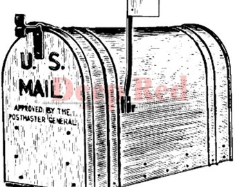 Deep Red Rubber Stamp Mailbox Out going Mail